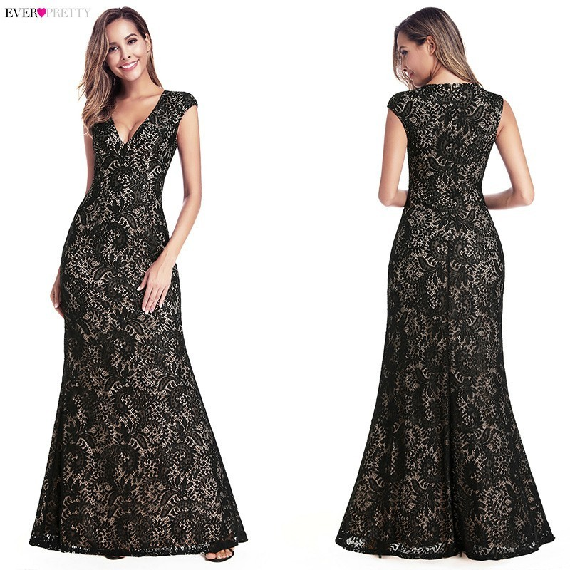 Ever Pretty Vintage Mermaid Prom Dresses Long V-Neck Sleeveless Elegant Embroidery Lace Formal Dresses Sexy Evening Gowns 2019