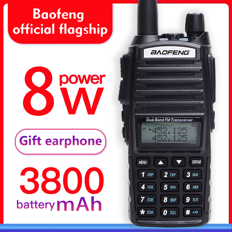 Baofeng UV-82 иди и болтай walkie talkie 8 Вт двухдиапазонный uhf и УКВ двухстороннее радио uv 82 Любительское fm-радио 10 км дальность мощный woki Токи (черный)