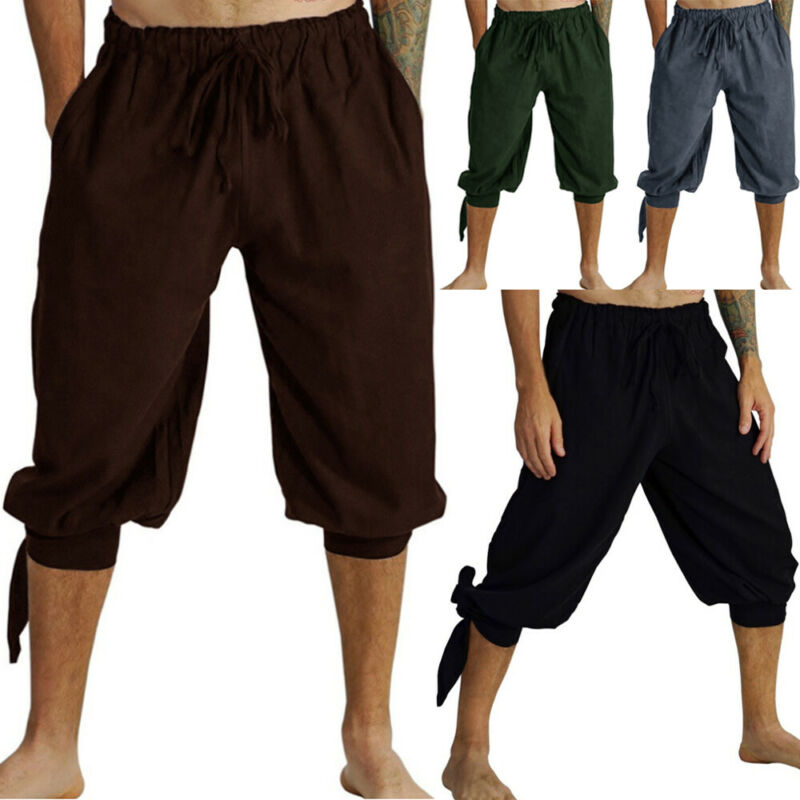 Men/'s Casual Sport Cargo Overall Pants Short Sweatpants Cropped Loose Trousers