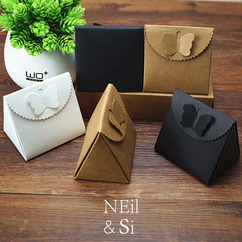 Butterfly closure knot Gift Box Wedding Candy Chocolate Package Kraft Paper Boxes Brown Black White Free Shipping