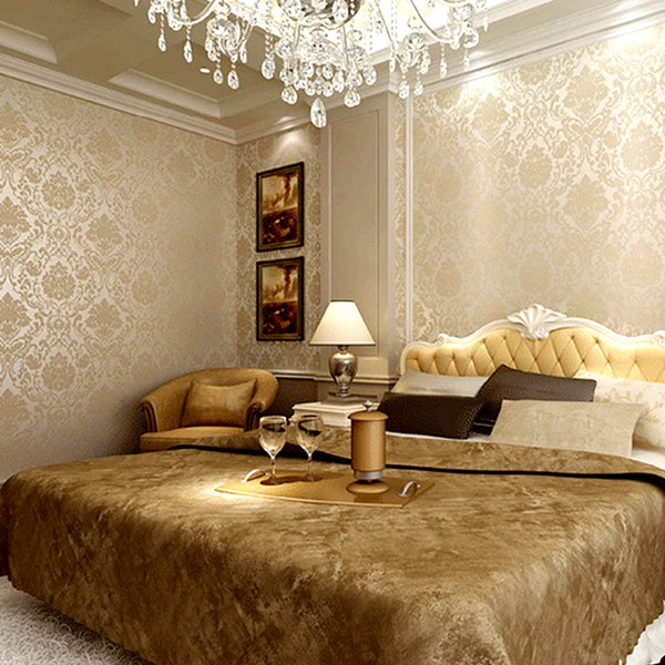 Modern 3d Gold Glitter Wallpaper Roll Bedroom 3D Papel De Parede Floral  Wall Paper For Walls Modern Damask Desktop Wallpaper In Wallpapers From  Home ...