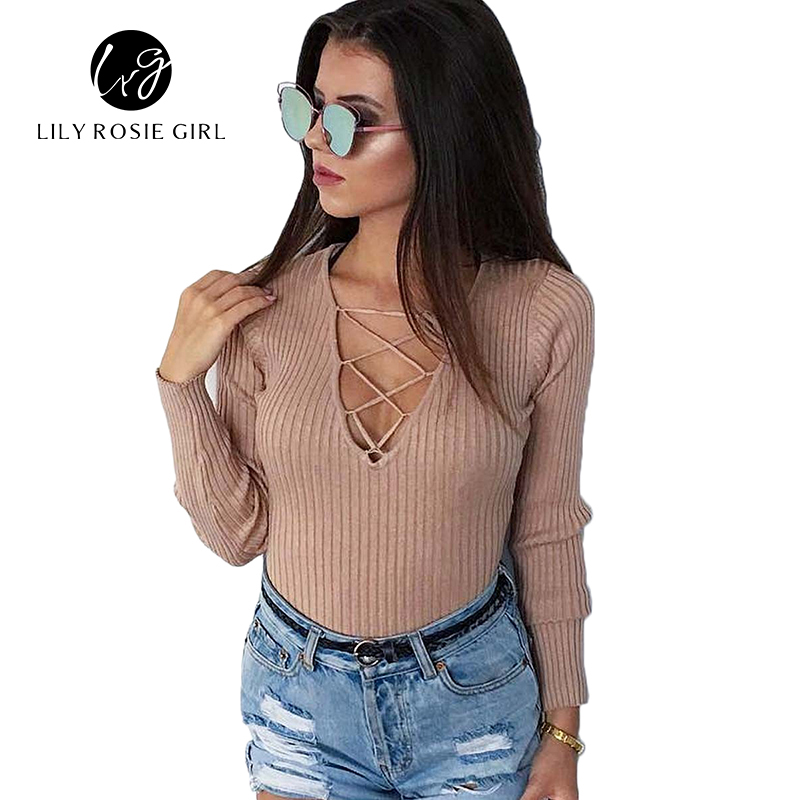 Winter 2016 Gray Casual Lace Up Long Sleeve Sexy Bodysuit
