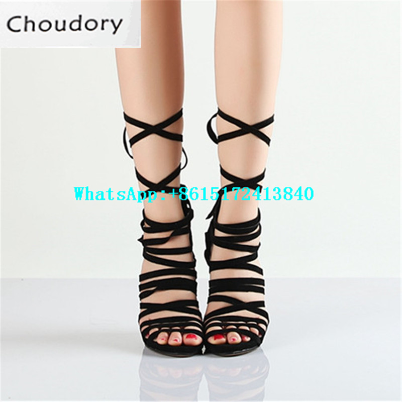 Choudory Solid Super High Heels Sexy Dress Shoes Woman Cover Heels Fashion Thin Heels Metal Decoration Gladiator Sandals Women