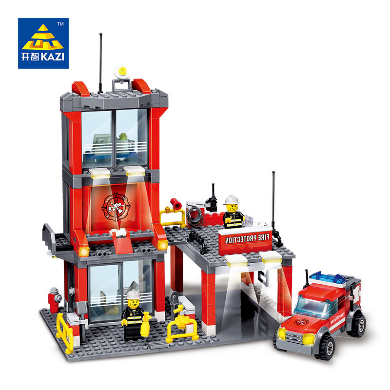 300pcs City Fire Station Building Blocks Sets LegoINGs DIY Educational Bricks Kids Playmobil Toys for Children Christmas Gift police station building blocks sets model 300pcs helicopter speedboat educational diy bricks toys for children ts10121