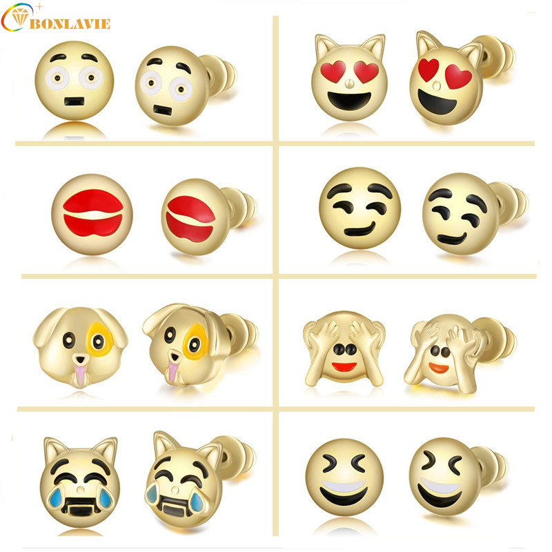 New Cute Heart Lovely Round Funny Smiley Animal Dog Monkey Emoji Earrings Jewelry Emoticons Face Stud Earrings for Women Girl