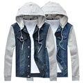 Горячая продажа 2016 Осень мужские джинсовые куртки Корейский длинным рукавом с капюшоном куртки тонкий случайный мужчина куртки Бесплатная доставка М-5XL