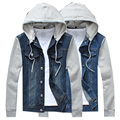 Hot sale 2016 Autumn men's denim jackets Korean long sleeve hooded jacket slim casual male jackets Free shipping M-5XL