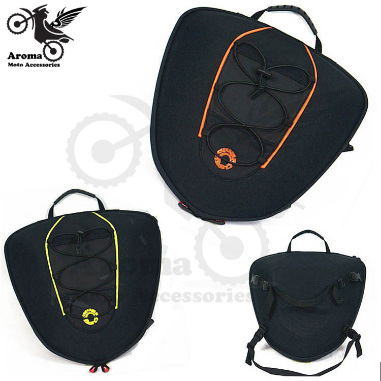 все цены на orange green bike side bag motocross saddlebag scooter rear pouch tool moto saddle bags motorbike luggage motorcycle tail bag