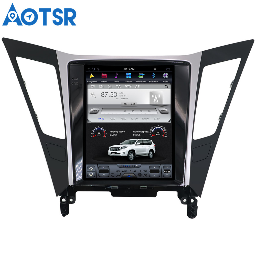 Tesla style <font><b>Android</b></font> 7.1 Car DVD Player GPS Navigation Radio Screen For <font><b>Hyundai</b></font> <font><b>Sonata</b></font> <font><b>2012</b></font> 2013 2014 <font><b>multimedia</b></font> headunit stereo image