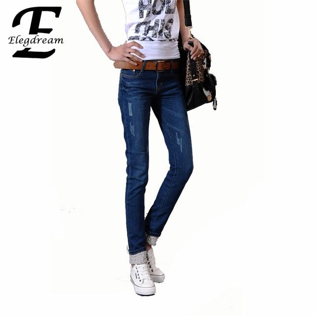 40 Mujeres de Talla grande Pantalones 2016 Nueva Primavera Jeans Rasgados Pantalones de Mezclilla Ocasional femenino de Las Señoras Elástico Flaco Pantalón Jean Largo azul