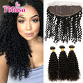 Brazillian Kinky Curly Hair Bundles With Lace Frontal Closure 3/4 Bundles With Frontal 7A Unprocessed Yolissa Curly Hair