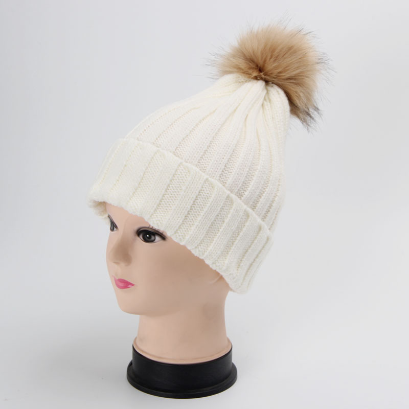 a20cd06ab58 Detail Feedback Questions about Hot 1PC Fashion Winter Warm Women Hat  Knitting Cap Crochet Knitted Hats Fur Pompoms Beanie Hat Skullies Solid  Color ...