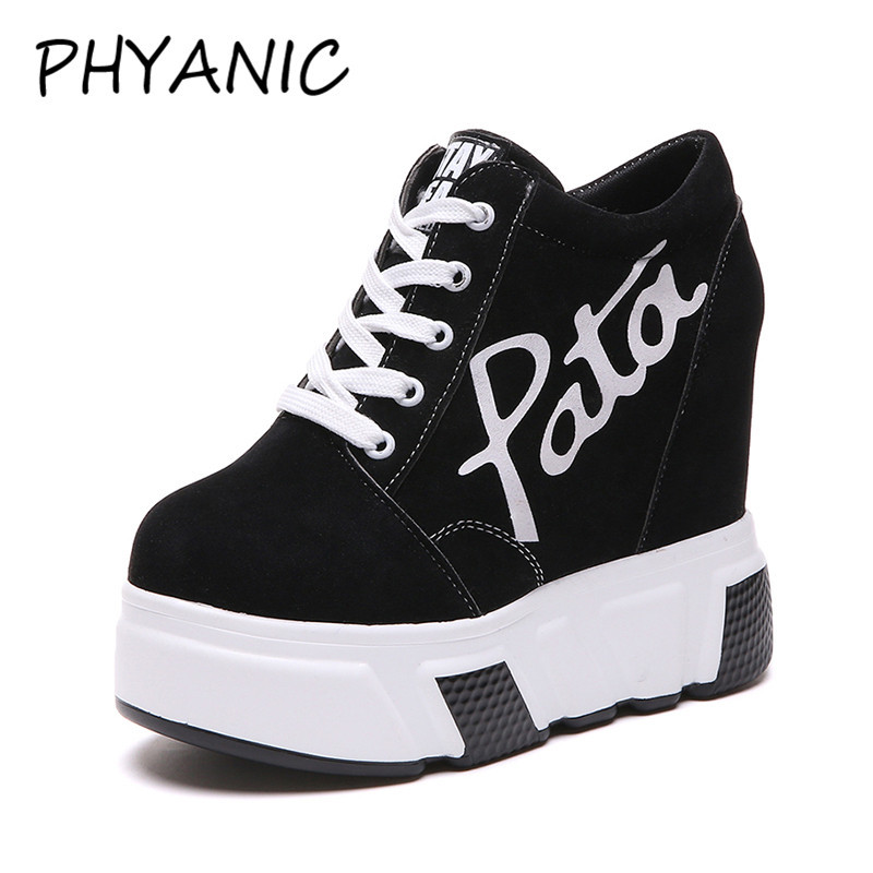 PHYANIC Lace Up Women Casual Shoes Height Increasing Platform Flats Women Shoes 2018 Fashion Sneakers Wedges Black Shoes PHY3222 2018 new arrivals women flats shoes fashion bling women flats platform loafers lace up women casual shoes black