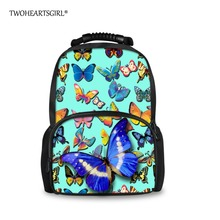 TWOHEARTSGIRL Красивая Печать Бабочка Рюкзак для Подростка Девочек Большой Емкости Женщин Колледжа Ноутбук Рюкзак Мешок Детей
