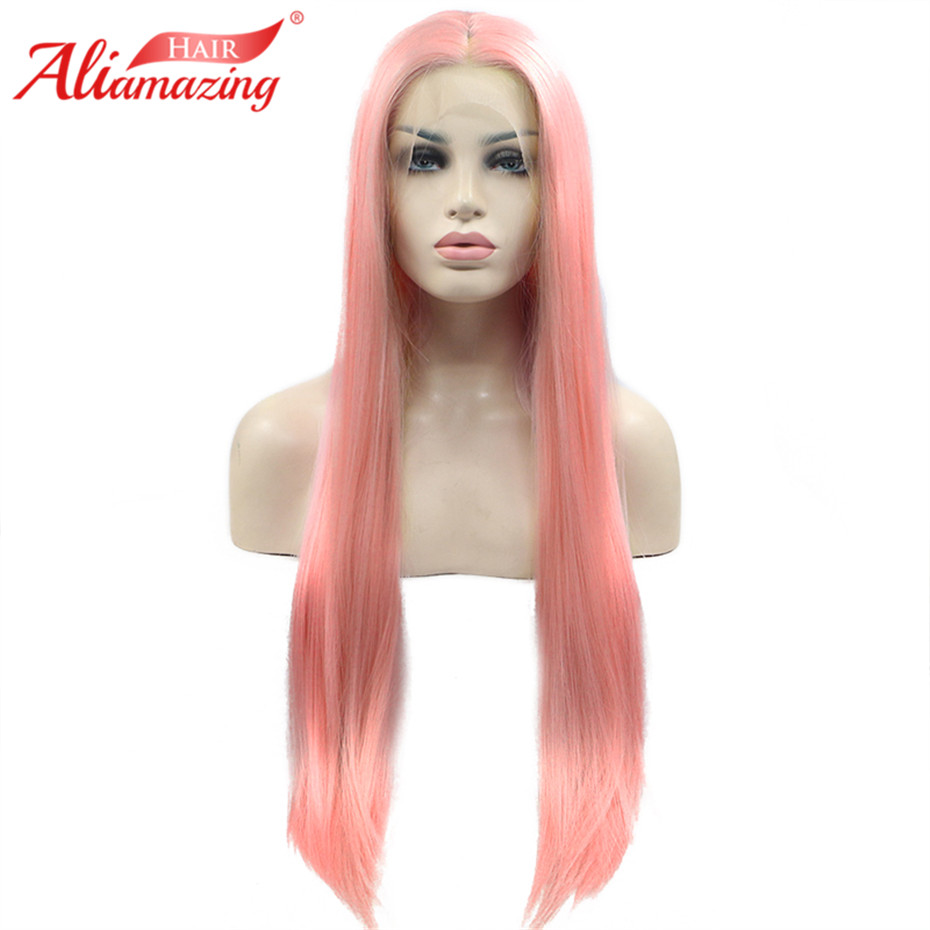 Ali Amazing Hair Lace Front Human Hair Wigs For Women Brazilian Remy Wig With Baby Hair Natural Hairline Full End Pink Color