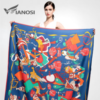 VIANOSI 2016 Silk Square Scarf Women Shawl High Quality Print Flower Big Size 130 130CM
