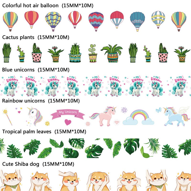 NEW 10m Decorative print Washi Tape Dog Cactus unicorn hot air balloon for Craft Masking Tape Adhesive Tapes Sticky Paper Tape casual casual инсайд