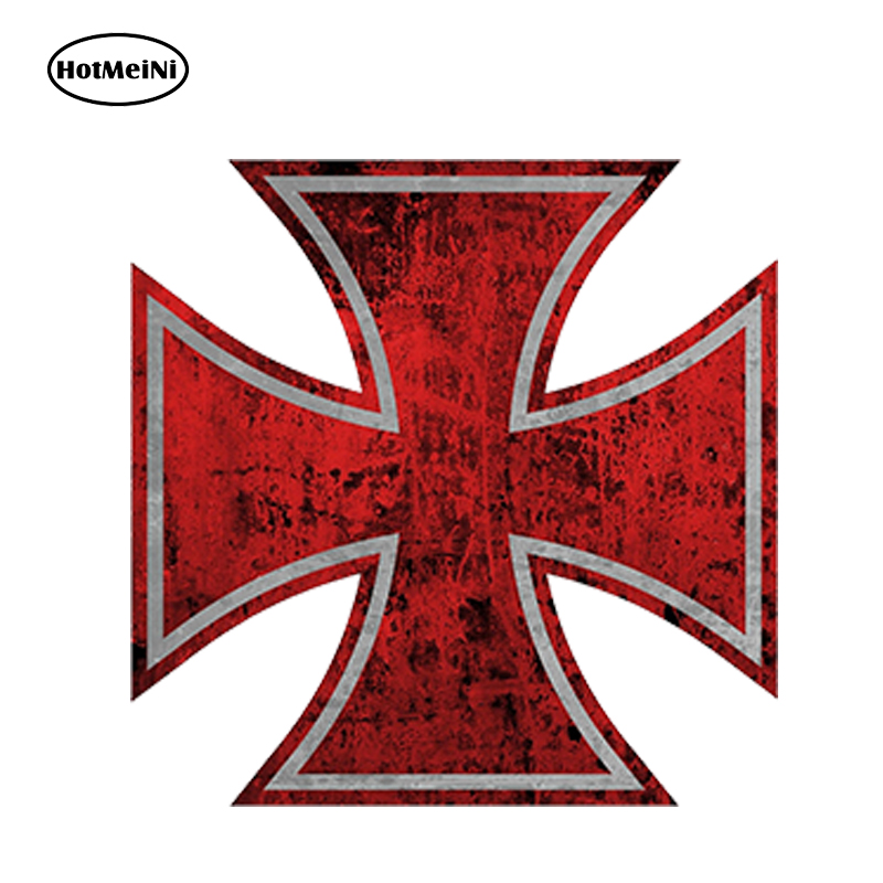 HotMeiNi 13x13cm Car Styling 765Pro sticker 5 Rat Rod Red Iron Cross Car Sticker Distressed Parts Gasser Waterproof Accessories hot sale 1pc longhorn hilux 900mm graphic vinyl sticker for toyota hilux decals badges detailing sticker car styling accessories