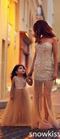Custom Long Champagne Beaded A Line Flower Girl Dresses Beautiful Mother And Daughter Gowns For Wedding