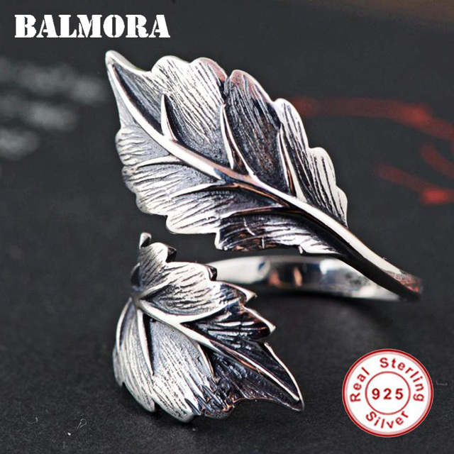 BALMORA 100% Real 925 Sterling Silver Jewelry Vintage Leaf Open Rings for Women