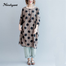 Nicelegant New Women 2017 Autumn Dress Plus Size Polka Dot Fashion Casual Loose Female Tops Black Mori Girl Dress