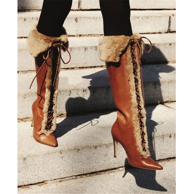 Vintage Brown Cross-tied Boots Women Retro Fur Turn-over Edge High Heels Pointed Toe Winter Boots Runway Casual Shoes WomenVintage Brown Cross-tied Boots Women Retro Fur Turn-over Edge High Heels Pointed Toe Winter Boots Runway Casual Shoes Women