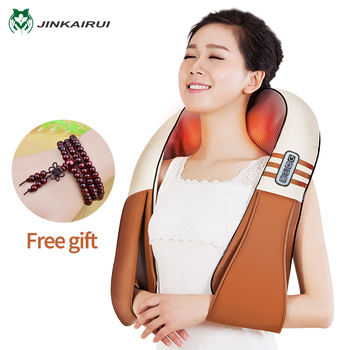 (with Gift Box)JinKaiRui U Shape Electrical Shiatsu Back Neck Shoulder Body Massager Infrared Heated Kneading Car/Home Massagem