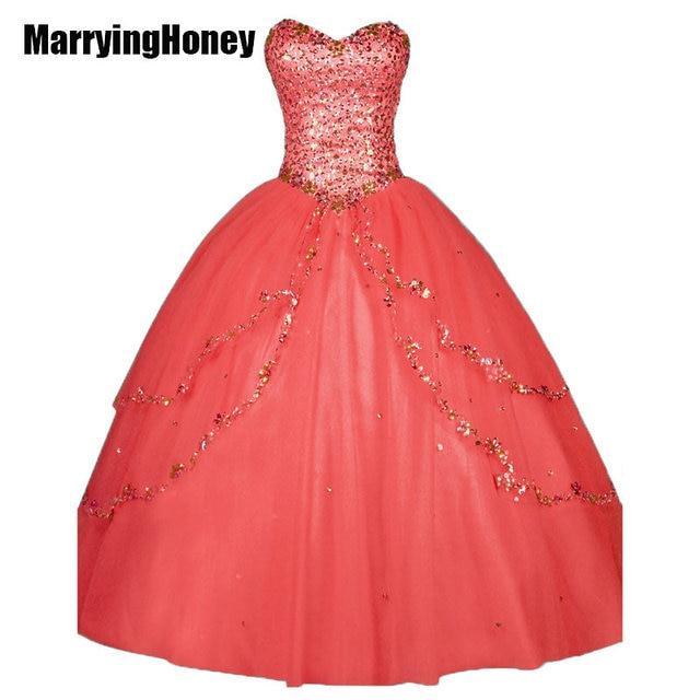 6734192d0e8 Sweetheart Crystal Quinceanera Dresses Sweet 16 Party vestido de 15 anos  Plus Size Women Beaded Prom Princess Ballgown debutante