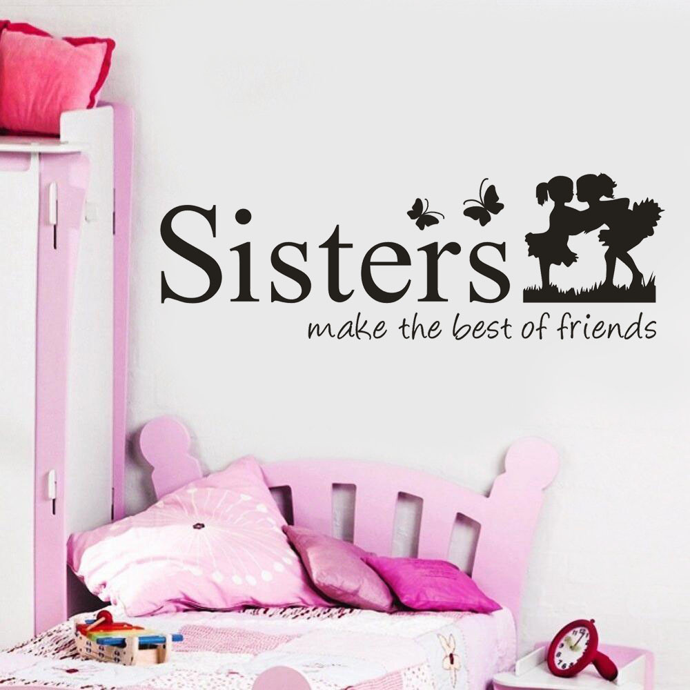 Sisters Wake The Best OF Friends PVC Wall Sticker Bedroom Home Decor for Children Room Decoration Home Decor DIY Art 1030 αυτοκολλητα τοιχου καθρεπτησ
