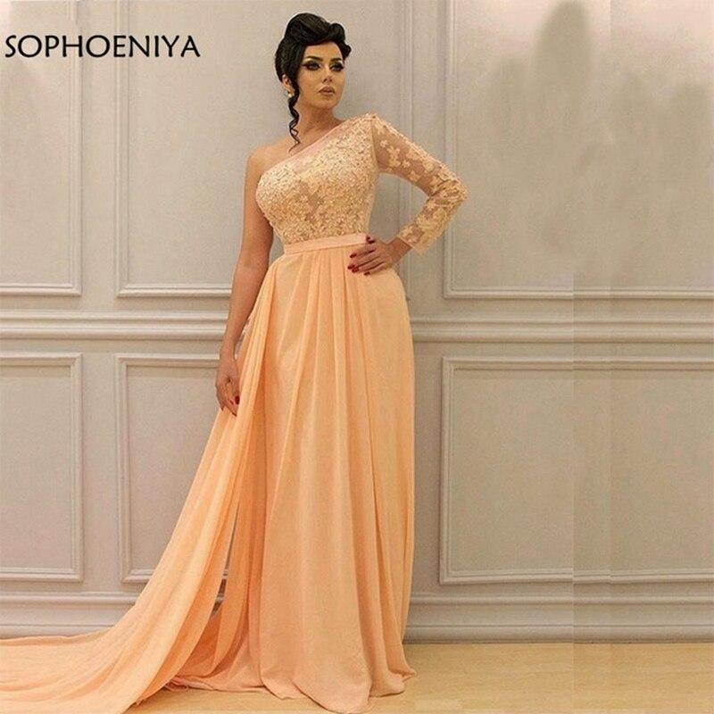Новое поступление, желтое шифоновое арабское вечернее платье на одно плечо 2019, вечерние платья с летающим поясом, vestido longo festa, длинное платье - 3