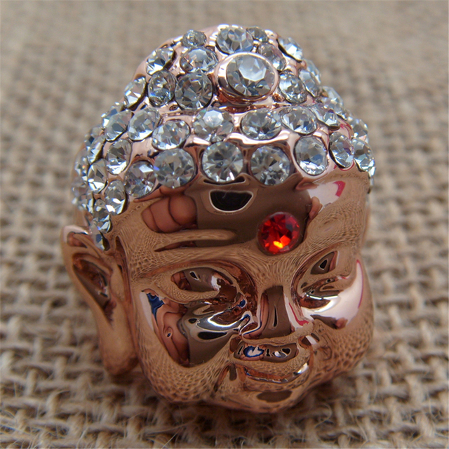 Fashion Style Rose Gold color Statue Buddha Head Wedding Rings With