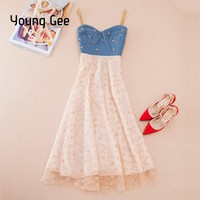 Young Gee Denim Summer Tunic Female Jean Dresses Women Casual Sexy Spaghetti Strap Floral Embroidery Beading Midi Dress vestidos