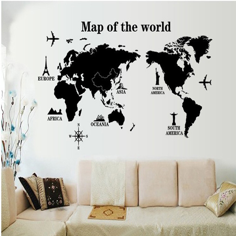 6090cm black world map diy adhesive vinyl wall stickers for living 6090cm black world map diy adhesive vinyl wall stickers for living room removable decals home office decor in wall stickers from home garden on gumiabroncs Image collections
