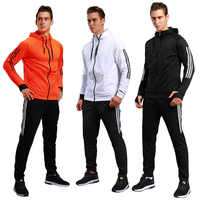 ספורט חליפת זכר עבה סתיו חורף פנאי כושר ריצה ספורט מעיל ארוך שרוולים רוכסן אימון חליפת הדפסת Sportsuit