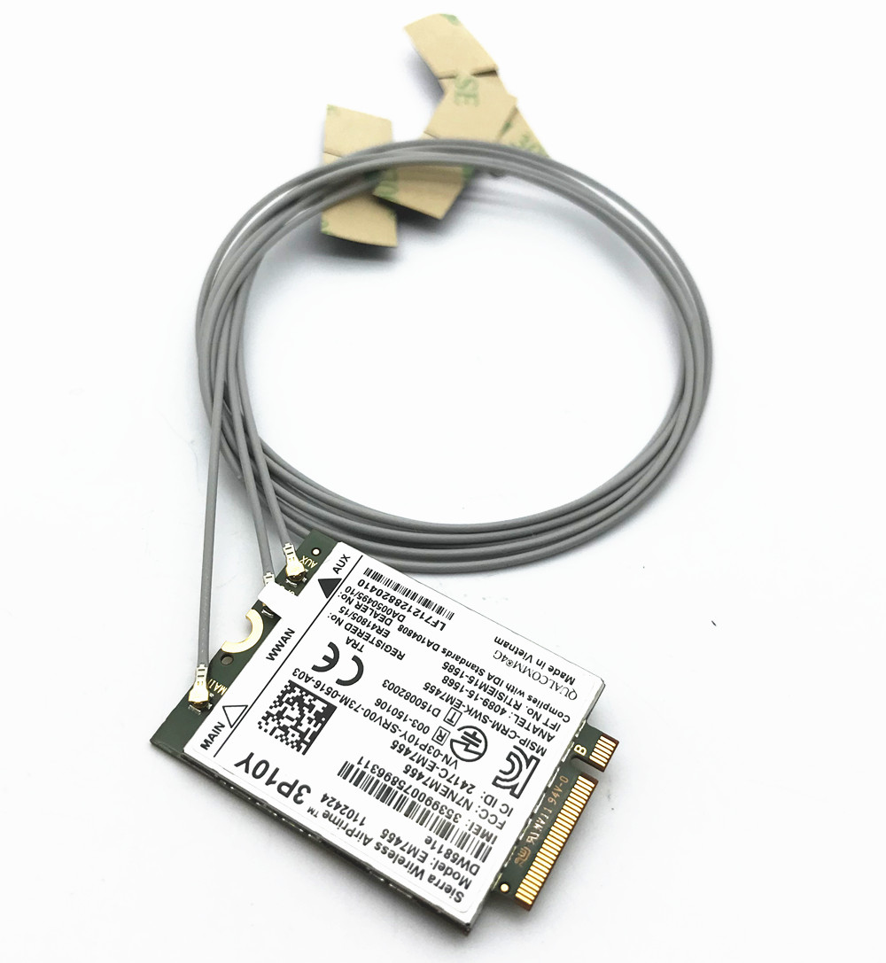 With Antennas Set + For Sierra EM7455 DW5811e Gobi6000 3P10Y NGFF HSDPA/UMTS/HSPA+ GPRS/EDGE Cat 6 Card 4G LTE Module WWAN Card