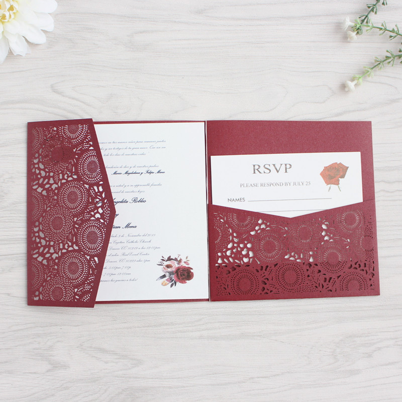 Burgundy flower laser cut wedding invitation with RSVP envelop glittery belly band tri fold pocket invites free printing-in Cards & Invitations from Home & Garden    3