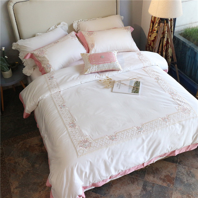 New White Bedding Set Egyptian Cotton Bed Sheets Embroidery Duvet Cover  Flat Bedspread Sets Home Textile