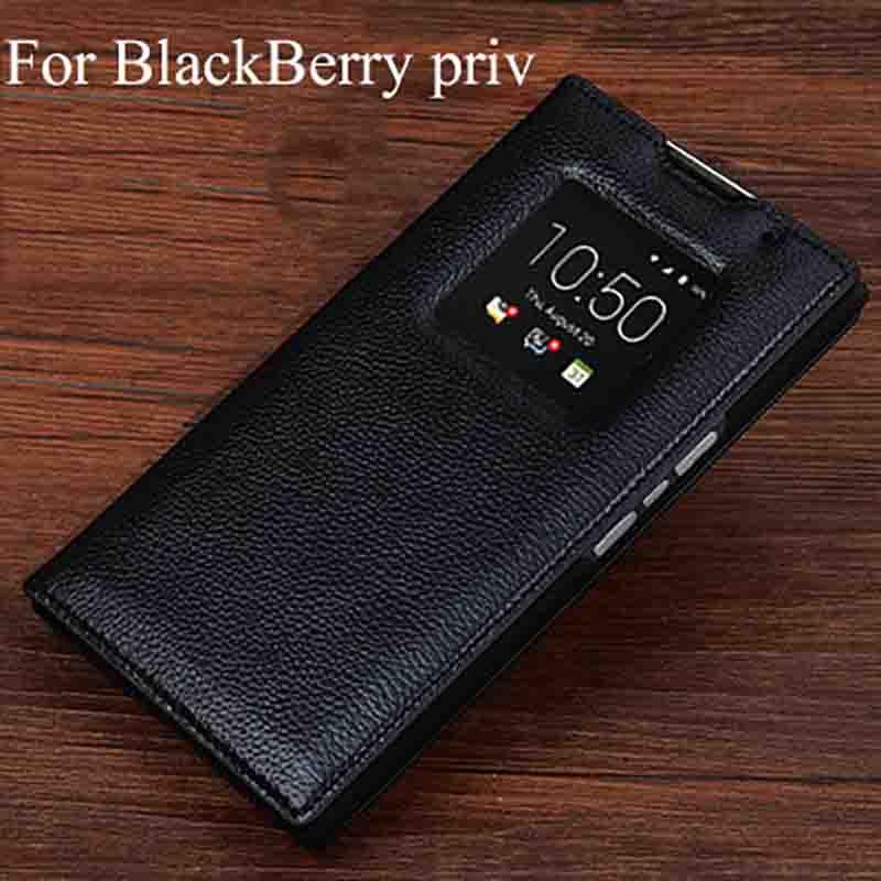 For BlackBerry priv Case Luxury Genuine Leather flip Back Cover For BlackBerrypriv case back shell(China)