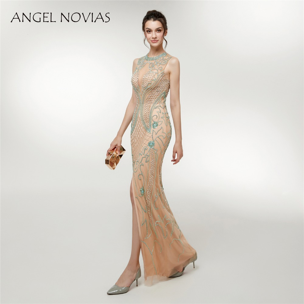 ANGEL NOVIAS Abendkleider Long Beaded Sexy Evening Dress 2018 Turkey with  Slit Champagne Party Dress Vestidos Largos-in Evening Dresses from Weddings  ... f5f16509b8cb