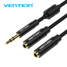 лучшая цена Vention 3.5mm Aux Cable Audio Splitter for Computer Jack 3.5 Male to 2 Female Mic Splitter Earphone Headphone Extension Cable
