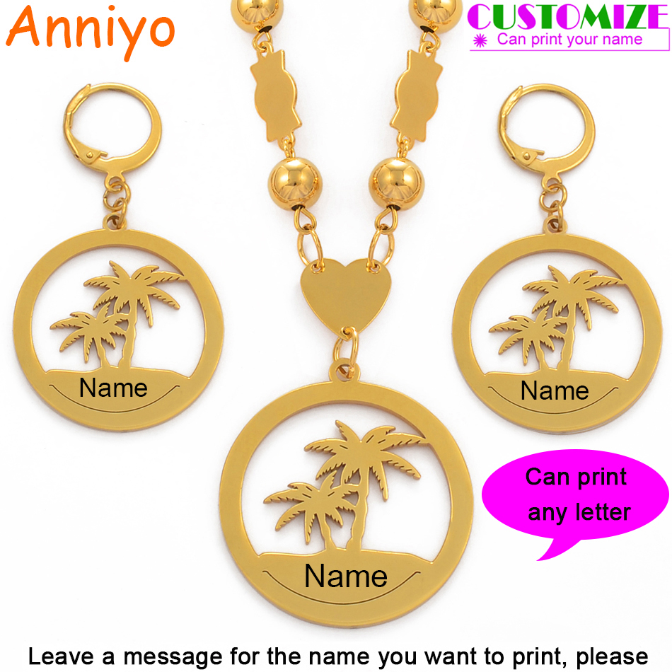 Anniyo Customize Name Jewelry set Beads Necklaces Earrings Women Gold Color Personalized Letters Guam Hawaii Marshall #078821Anniyo Customize Name Jewelry set Beads Necklaces Earrings Women Gold Color Personalized Letters Guam Hawaii Marshall #078821