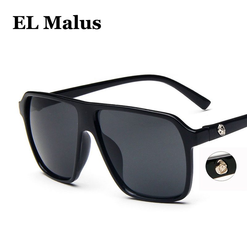 Men's Glasses polarized Big Square Frame Sunglasses Uv400 Men Male Silver Tan Lens Mirror Retro Brand Designer Sun Glasses Oculos Men's Sunglasses el Malus