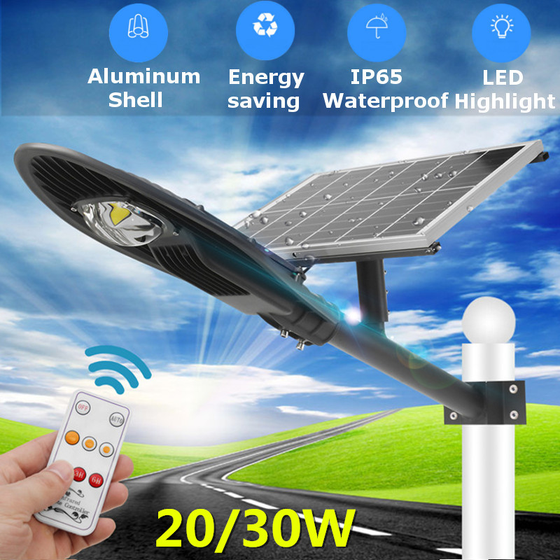 Smuxi 20/30W Waterproof Solar Street Light LED Solar Radar Sensor Road Lamp With Lamp Arm AC110-220V LED Industrial Light ...