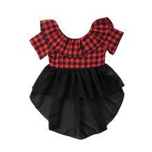 Детская блузка для маленьких девочек Летняя красная блузка в клетку с короткими рукавами топы с круглым вырезом и оборками для девочек с открытой спиной