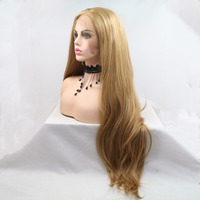 Marquesha Long Straight Heat Resistant Fiber Synthetic Lace Front Honey Blonde Wig Natural Looking Lace Wigs For Women