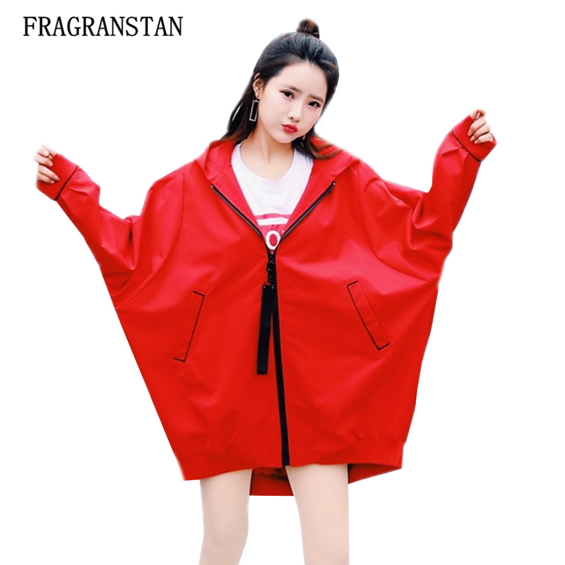 Harajuku New Casual Loose Plus Size Hooded Trench Coat Female Spring Autumn Fashion Red Zipper Ribbon