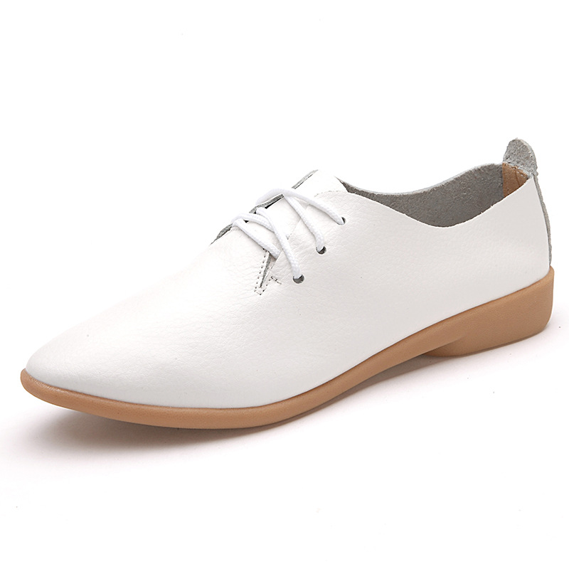 Genuine Leather Oxford Shoes For Women Round Toe Lace-Up Casual Shoes Spring And Autumn Flat Loafers female black flat Shoes 2016 spring and autumn women s shoes female flat heel maternity shoes genuine leather shoes flats for women