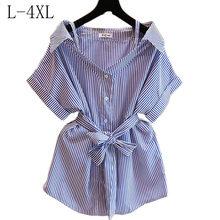 31a22aeeb Blusas de Chiffon mulheres Encabeça Roupas Femininas Camisa Listrada Plus  Size Elegante Coreano Moda Roupas de