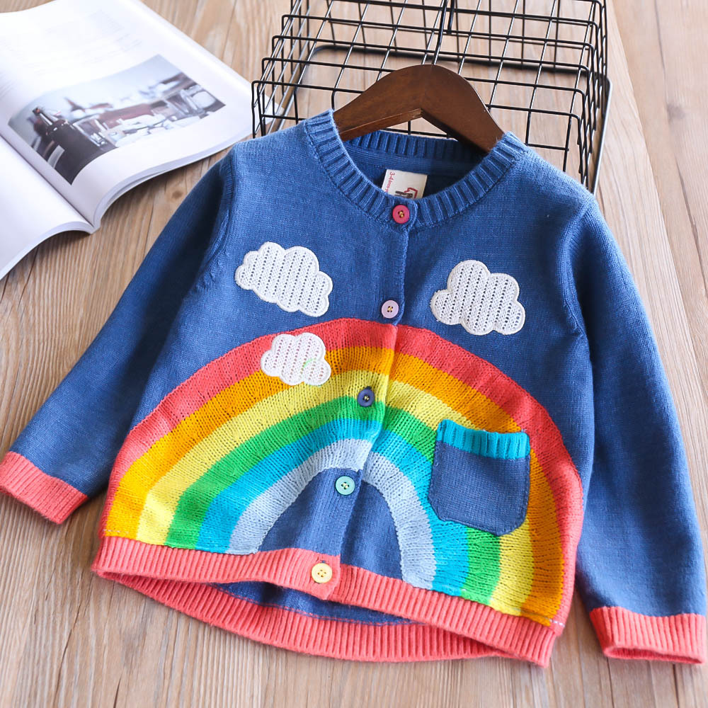 Spring 2018 New Girls Knitted Cardigan Rainbow Clouds