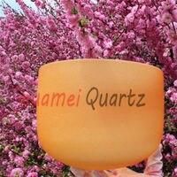 8 Inch D Orange Sacral Chakra Frosted Quartz Crystal Singing Bowl